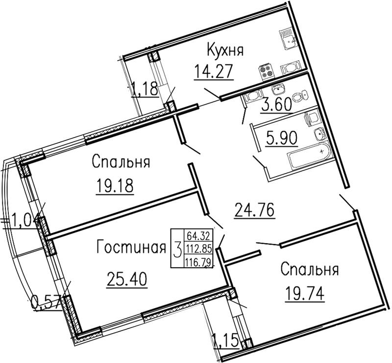 Планировка Трёхкомнатная квартира площадью 118.1 кв.м в ЖК «Платинум»
