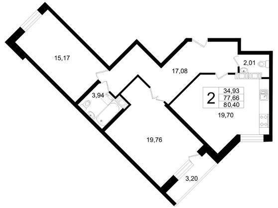Планировка Двухкомнатная квартира площадью 80.4 кв.м в ЖК «Платинум»