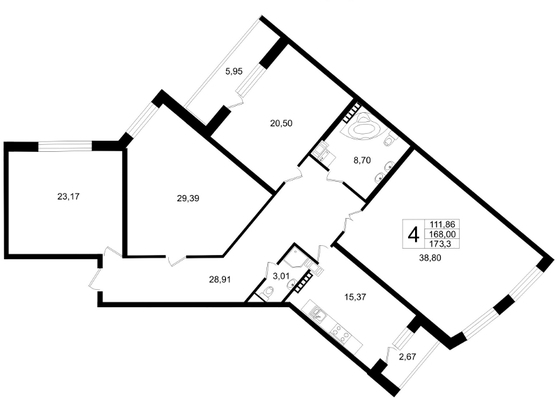 Планировка Четырёхкомнатная квартира площадью 173.3 кв.м в ЖК «Платинум»