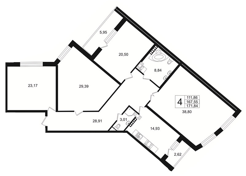Планировка Четырёхкомнатная квартира площадью 172.7 кв.м в ЖК «Платинум»