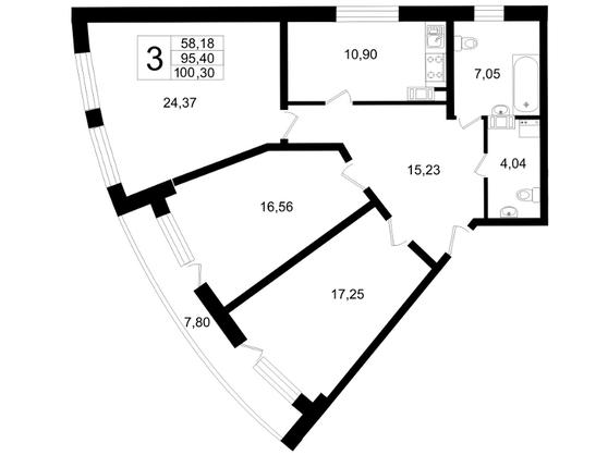 Планировка Трёхкомнатная квартира площадью 100.3 кв.м в ЖК «Платинум»