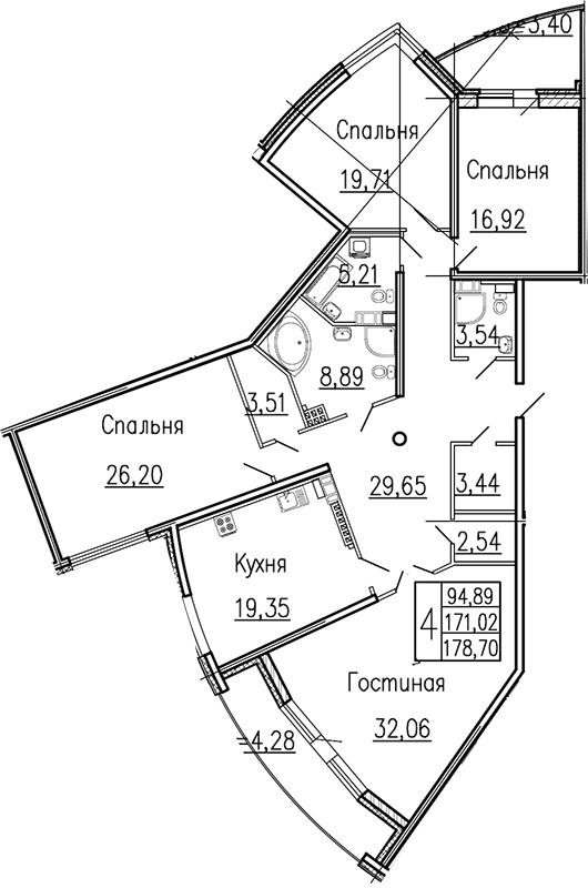 Планировка Четырёхкомнатная квартира площадью 178.5 кв.м в ЖК «Платинум»