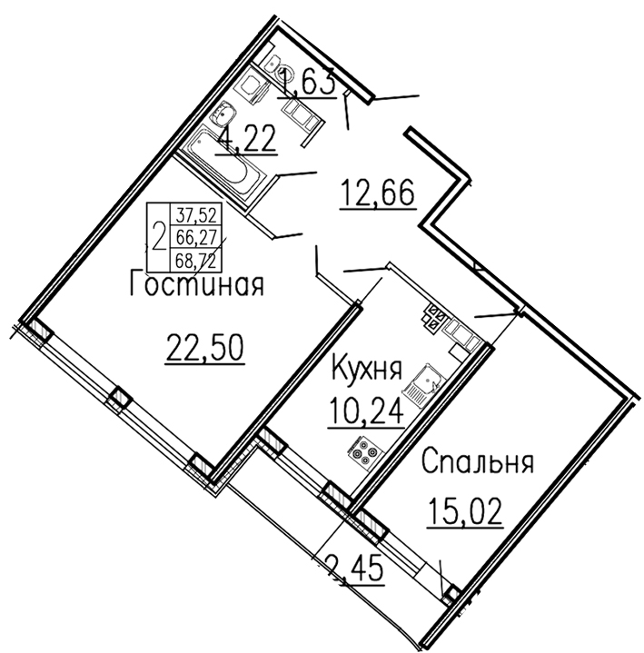 Планировка Двухкомнатная квартира площадью 70 кв.м в ЖК «Платинум»