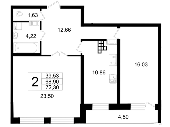 Планировка Двухкомнатная квартира площадью 72.3 кв.м в ЖК «Платинум»